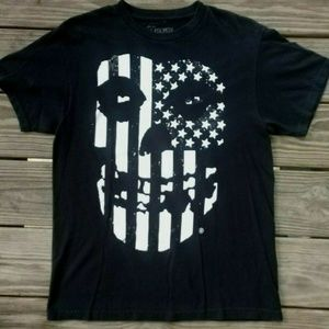 Black With White Skull & Flag Graphic T-Shirt